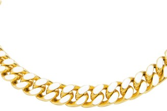 Fallon Armure Goldplated & White Enamel Chain Collar Necklace