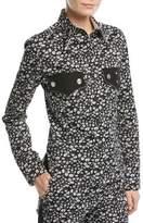Calvin Klein Daisy-Print Long-Sleeve Button-Front Top