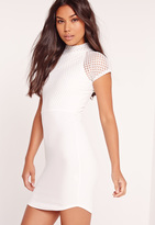 Missguided Fishnet Curved Hem Mini Dress White