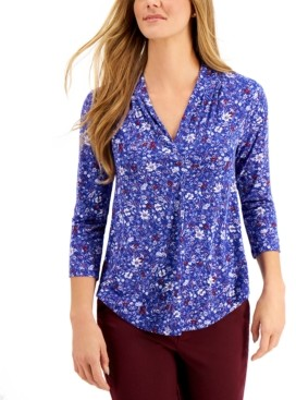 Charter Club Petite 3/4-Sleeve Floral Blouse, Created for Macy's