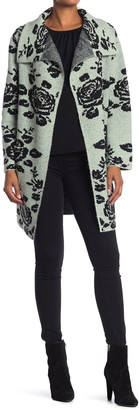 Vertigo Floral Drape Collar Cardigan Sweater Coat