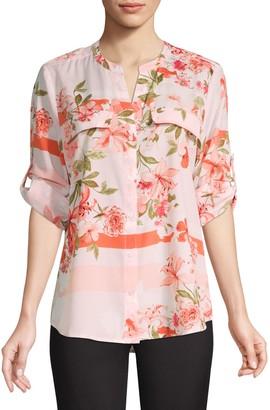Calvin Klein Collection Botanical Roll-Sleeve Utility Blouse