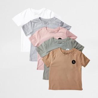 River Island Mini boys Pink 5 pack t-shirts