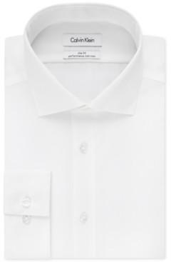 Calvin Klein Steel Men's Slim-Fit Non-Iron Performance Spread Collar Herringbone Dress Shirt