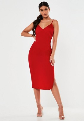 Missguided Petite Red Strappy Slip Midi Dress