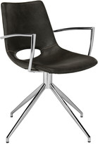 Safavieh Dawn Midcentury Modern Leather Swivel Dining Arm Chair