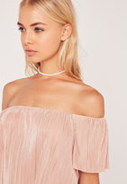 Missguided Double Layer Pearl Chain Choker Necklace Gold