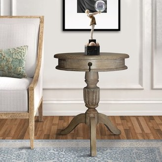 One Allium Way Purifoy Solid Wood Pedestal End Table with Storage