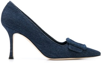 Manolo Blahnik Denim Buckle Pumps