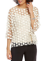 IC Collection Mesh Dotted Faux Leather Applique Top