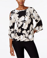 Kasper Printed Cold-Shoulder Top