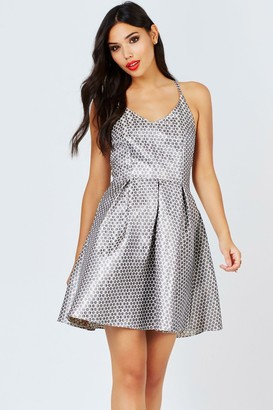 Girls On Film Metallic Spot Jacquard Fit And Flare Dress