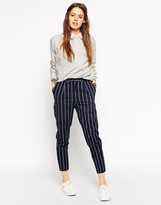Asos High Waisted Peg Pant in Stripe