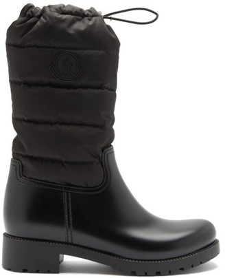 Moncler Ginette Logo-patch Quilted-shell And Pvc Boots - Black