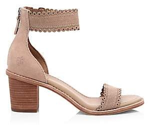Frye Women's Brielle Ankle-Cuff Laser Cut Suede Sandals