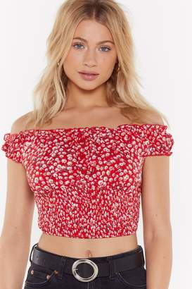 Nasty Gal Womens Oops-A-Ditsy Off-The-Shoulder Floral Crop Top - Red - S, Red