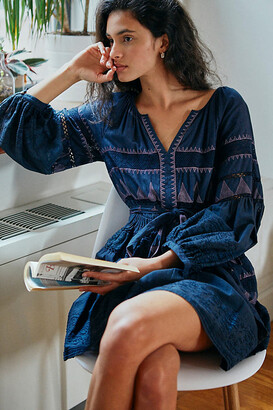 Anthropologie Skye Embroidered Mini Dress By in Blue Size XS