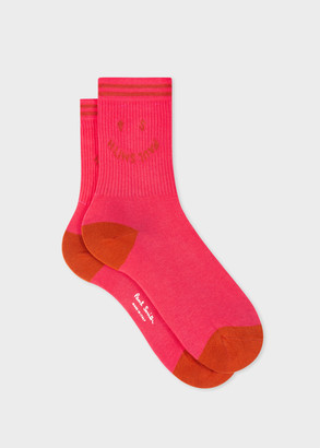 Paul Smith Women's Fuchsia 'PS Smile' Ribbed Socks