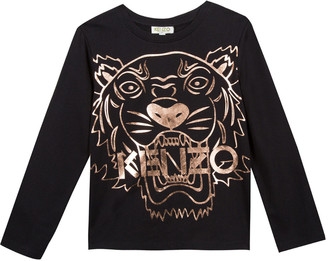 Kenzo Metallic Tiger Face Icon Long-Sleeve T-Shirt, Size 8-12