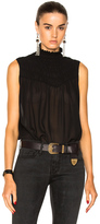 Frame Smocked Sleeveless Blouse in Black.