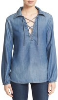 Frame Women's Lace-Up Chambray Blouse