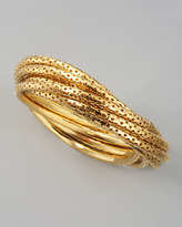 Jules Smith Perforated Bangle Set, Yellow Golden