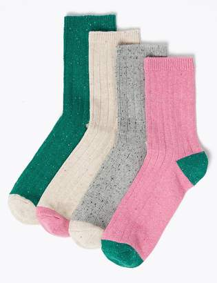 Marks and Spencer 4 Pair Pack Cotton Rich Ankle Socks