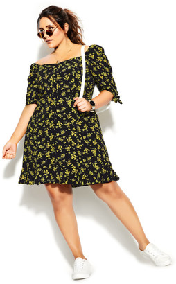 City Chic Sun Floral Dress - black