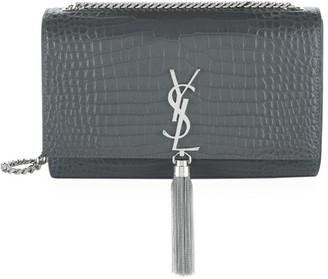 Saint Laurent Medium Croc Kate Monogram Tassel Shoulder Bag