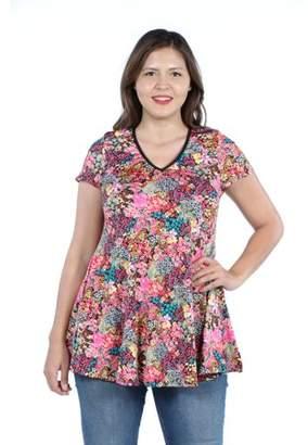 24/7 Comfort Apparel Women's Plus Size Floral Short Sleeve Vneck Tunic Top