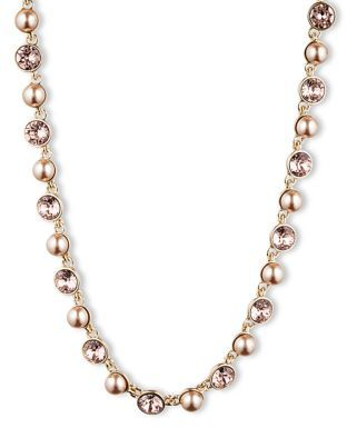 Givenchy Vintage Rose Crystal & Blush Pearl Necklace