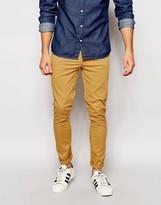 Asos Super Skinny Trousers In Camel - Yellow