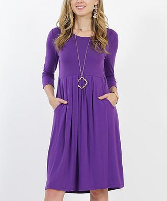 Lydiane Women's Casual Dresses PURPLE - Purple Three-Quarter Sleeve Pleated Empire-Waist Pocket Dress - Women & Plus