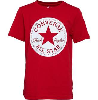 Converse Junior Boys Chuck Taylor Script Short Sleeve T-Shirt Enamel Red