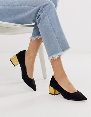 New Look faux suede heeled shoes in black
