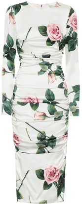Dolce & Gabbana Floral stretch-silk midi dress