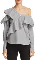 Aqua Asymmetric Ruffled One-Shoulder Shirt - 100% Exclusive