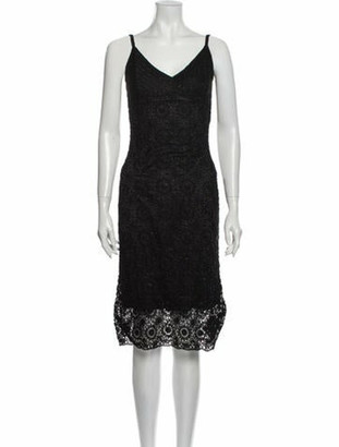 Carmen Marc Valvo V-Neck Midi Length Dress Black