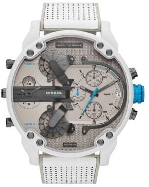 Diesel Men's Chronograph Mr. Daddy 2.0 White Leather Strap Watch 57mm