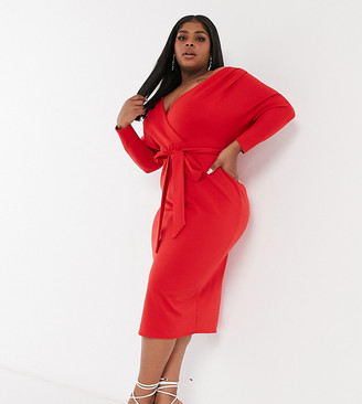 ASOS DESIGN Curve structured fallen shoulder midi dress with self tie waist in red