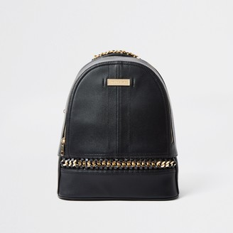 River Island Womens Black oversized chain backpack