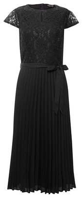 Dorothy Perkins Womens Black Pleated 'Alice' Lace Midi Dress, Black