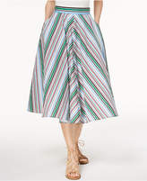 Marella Cotton Stretch Poplin Striped Midi Skirt