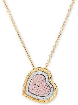 "Macy's Tricolor Textured Heart 17"" Pendant Necklace in 14k Gold, White Gold & Rose Gold"