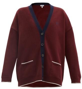 Loewe Anagram-embroidered Wool Cardigan - Burgundy Navy