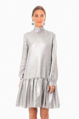 Tibi Silver Lame Longsleeve Dropwaist Dress