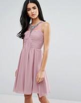 Little Mistress Embellished And Drape Front Prom Dress