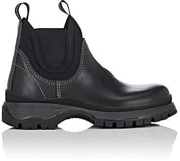 Prada Women's Lug-Sole Leather & Neoprene Chelsea Boots - Nero