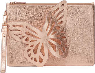 Sophia Webster Flossy Butterfly Embellished Metallic Leather Pochette Clutch Bag