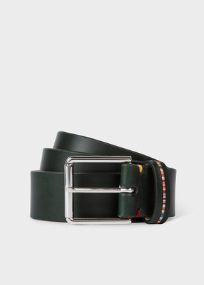 Paul Smith Men's Dark Green Leather Belt With 'Signature Stripe' Keeper